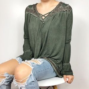 POL Army Green Embroidered Oversized Swing Blouse